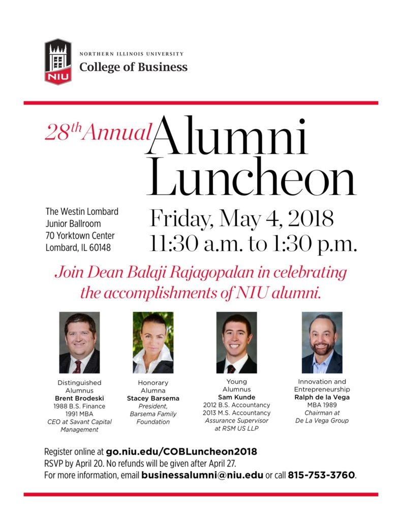 NIU, College Of Business, Alumni Award for Innovation and Entrepreneurship